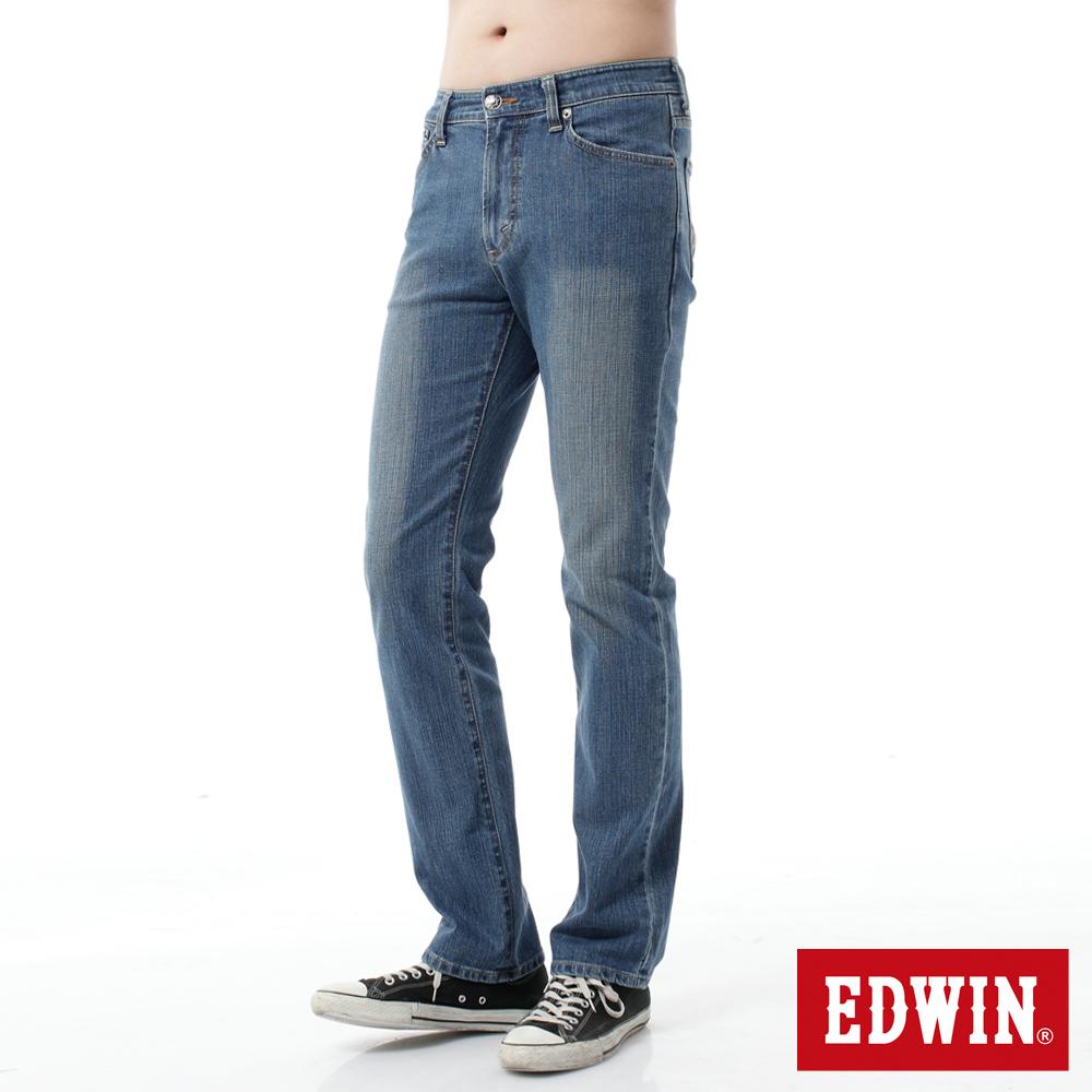 EDWIN 大尺碼 基本五袋直筒牛仔褲-男-重漂藍