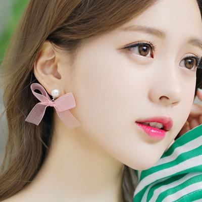 梨花HaNA 韓國夢幻女孩珍珠緞蝴蝶結耳環