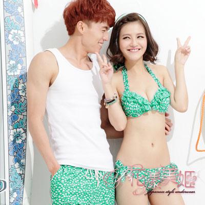 花漾美姬‧舞動浪花*情侶泳衣(For_Man)金條罩萊卡海灘泳褲(綠)