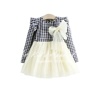 魔法Baby 格紋蕾絲薄長袖連身裙 k39221