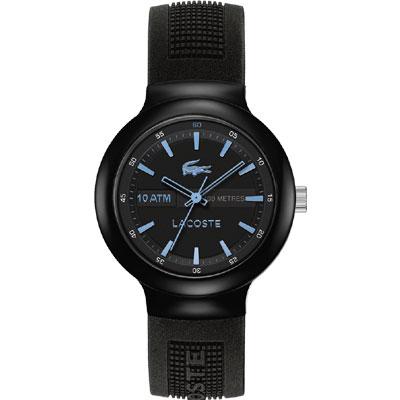 Lacoste 鱷魚 TR90經典傳奇時尚腕錶-黑x淺藍時標/44mm