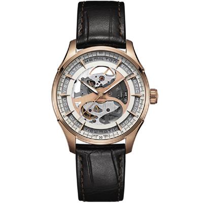 Hamilton 漢米爾頓 Jazzmaster 創新鏤空機械錶-  玫瑰金色/40mm