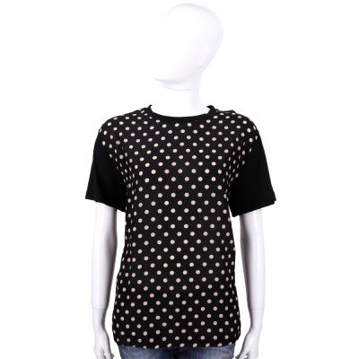 RED VALENTINO 黑色點點圖印拼接設計短袖T恤