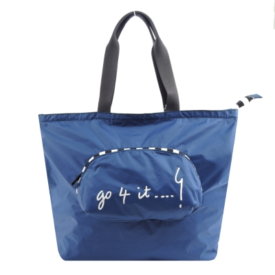 agnes b.摺疊輕便購物袋-藍