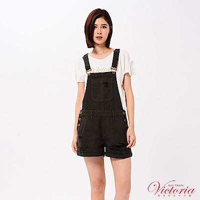 Victoria (活動綁帶)文字貼片寬鬆短袖T -女-白色