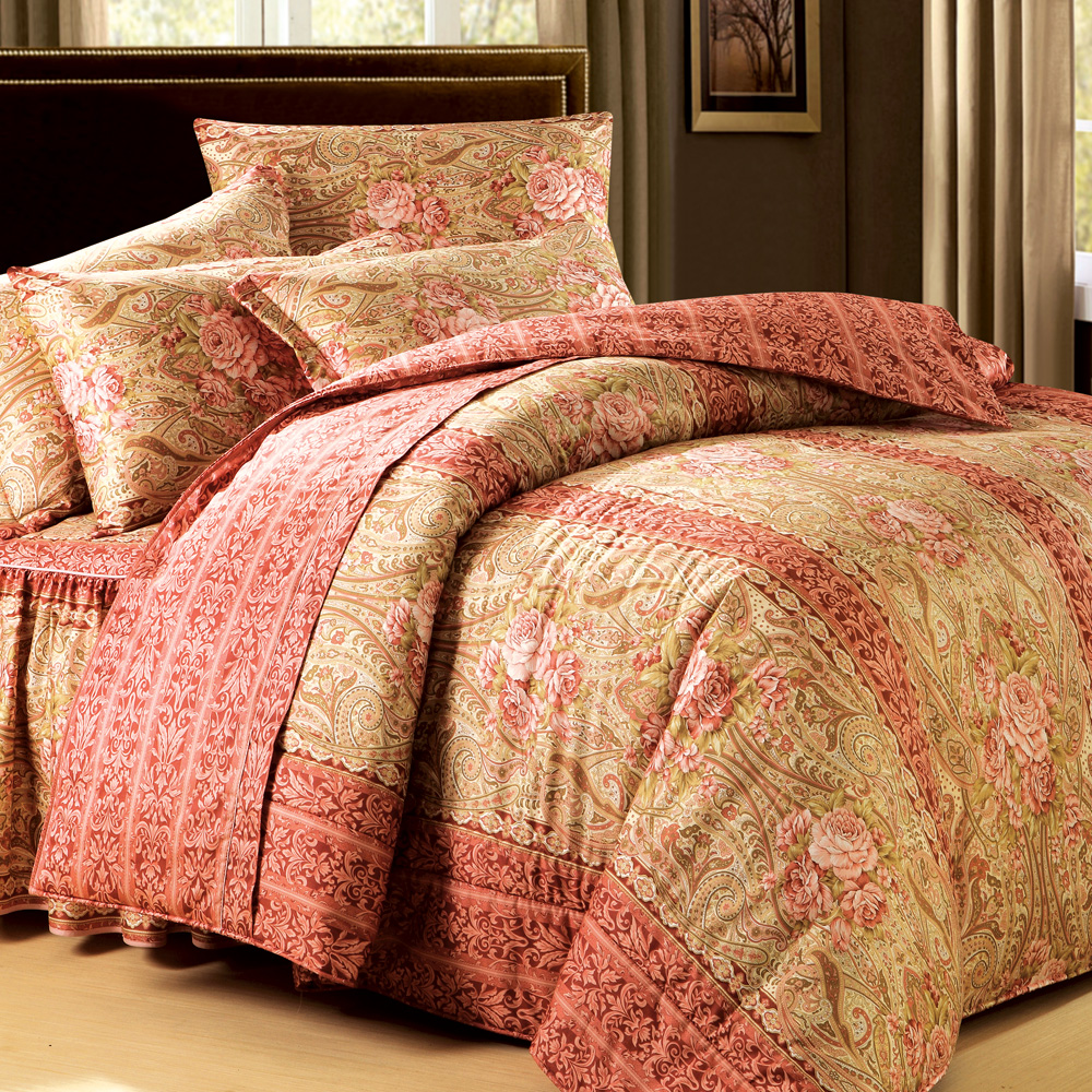 法國MONTAGUT - 豔情南洋 - 雙人加大六件式鋪棉床罩組