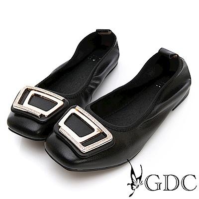 GDC-真皮舒適方頭抓皺金屬飾釦包鞋-黑色