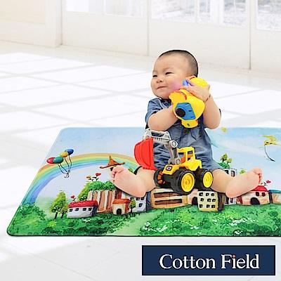 棉花田 魔法空間 法蘭絨印花防滑遊戲毯-城堡(76x117cm)