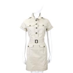 BURBERRY 卡其灰色口袋設計短袖洋裝(附腰帶)
