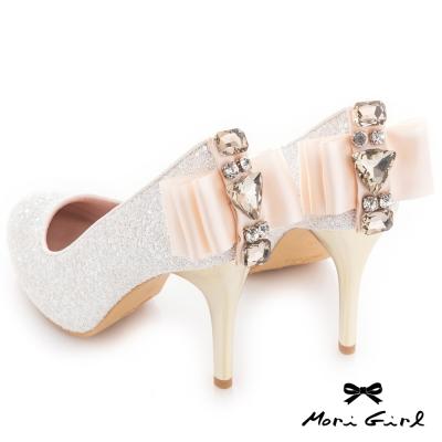 Mori girl 精緻亮片後緞面蝴蝶結水鑽高跟婚鞋 白