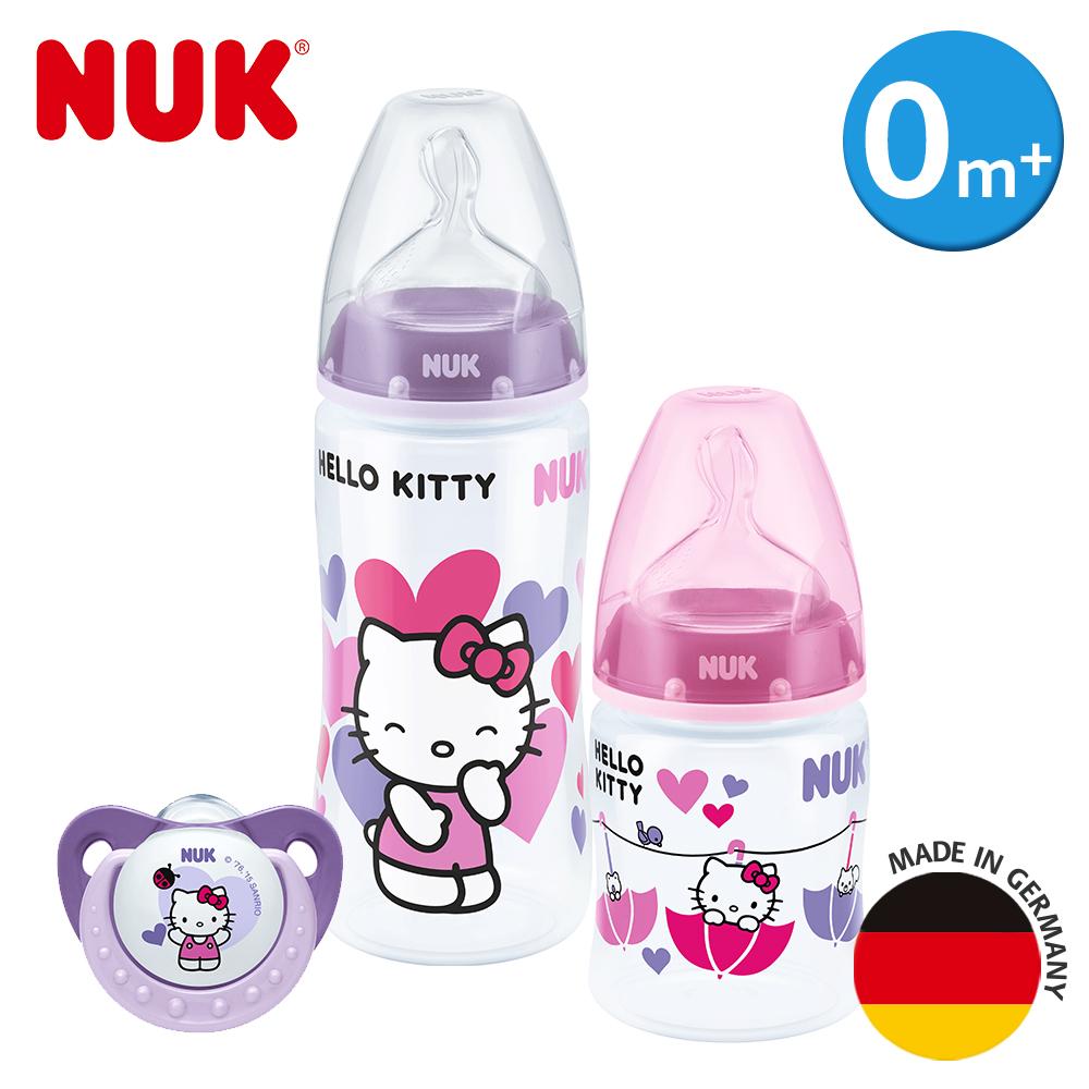 德國NUK-Hello Kitty寬口徑PP奶瓶+安撫奶嘴0m+超值組(顏色隨機出貨)