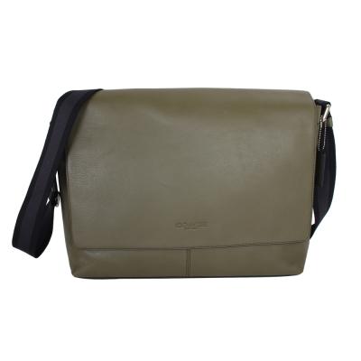 COACH-C-logo烙印吸扣掀蓋皮革斜背包-綠