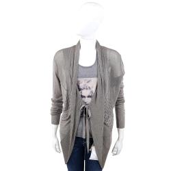 I'm Isola Marras 灰色織紋拼接麻料針織外套
