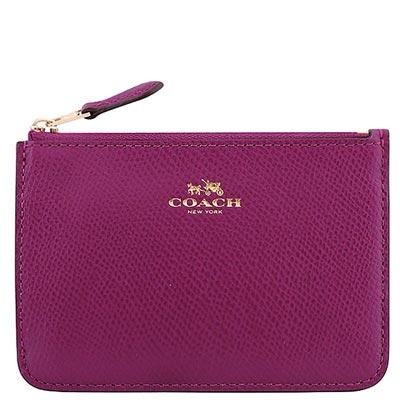 COACH-紫紅色馬車防刮皮革鑰匙零錢包