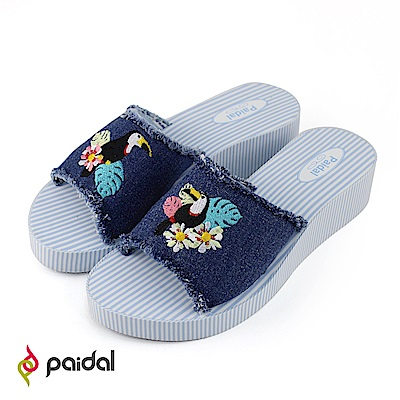 Paidal花叢大嘴鳥厚底一片式美型涼拖鞋