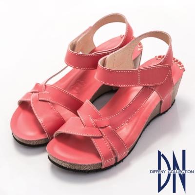 DN 簡單舒適 真皮交叉輕盈楔型涼鞋~粉桃