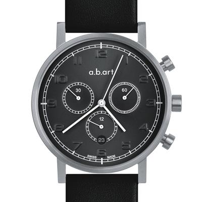 a.b.art OC 極簡復古三眼計時碼錶-槍黑/ 40 . 5 mm