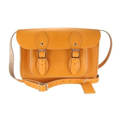 The Leather Satchel 英國手工牛皮劍橋包 肩背 側背包 駝黃 11吋