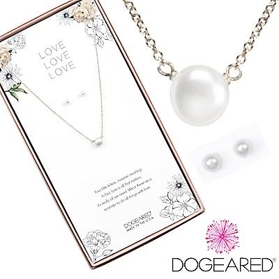 Dogeared love珍愛系列 小白珍珠銀色許願項鍊X白珍珠銀色耳環 套組