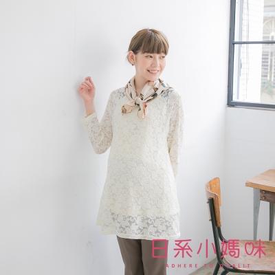 日系小媽咪孕婦裝-台灣製哺乳衣-假二件滿版玫瑰蕾絲花紋上衣-共二色