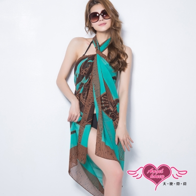 天使霓裳 度假風情 多種穿法外搭紗裙(綠底褐色花F)
