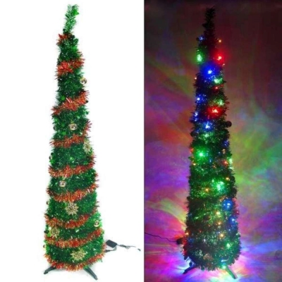 6尺(180cm)彈簧摺疊綠色哈利葉瘦型鉛筆樹聖誕樹(+LED100燈四彩光+紅系飾品)