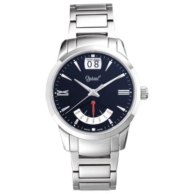 Ogival 瑞士愛其華 皇家戰鬥機系列逆跳極速多顯腕錶-黑/42mm