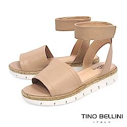 Tino Bellini巴西進口寬帶繫踝麻編厚底涼鞋_ 膚
