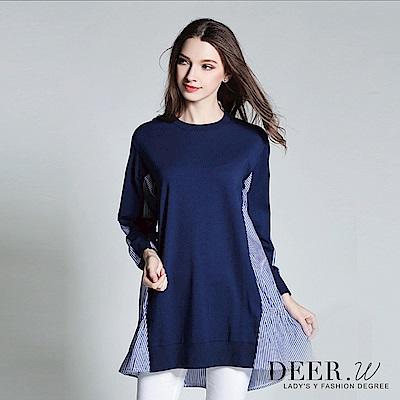 DEER.W 拼接條紋抽繩荷葉襬上衣(藍色)
