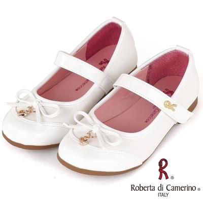 Roberta諾貝達 氣質格紋豚皮公主皮鞋童鞋-白(中大童)