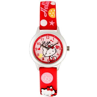Hello Kitty 玩樂星球造型腕錶-紅/30mm