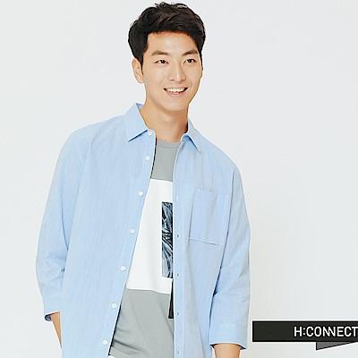H:CONNECT 韓國品牌 男裝-口袋設計棉質襯衫-淺藍