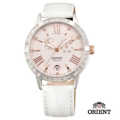 ORIENT 東方錶 ELEGANT系列 雙眼鑲鑽機械女錶-粉色/37mm