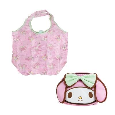 Sanrio 美樂蒂滿版圖案環保購物袋附大臉造型收納包 @ Y!購物
