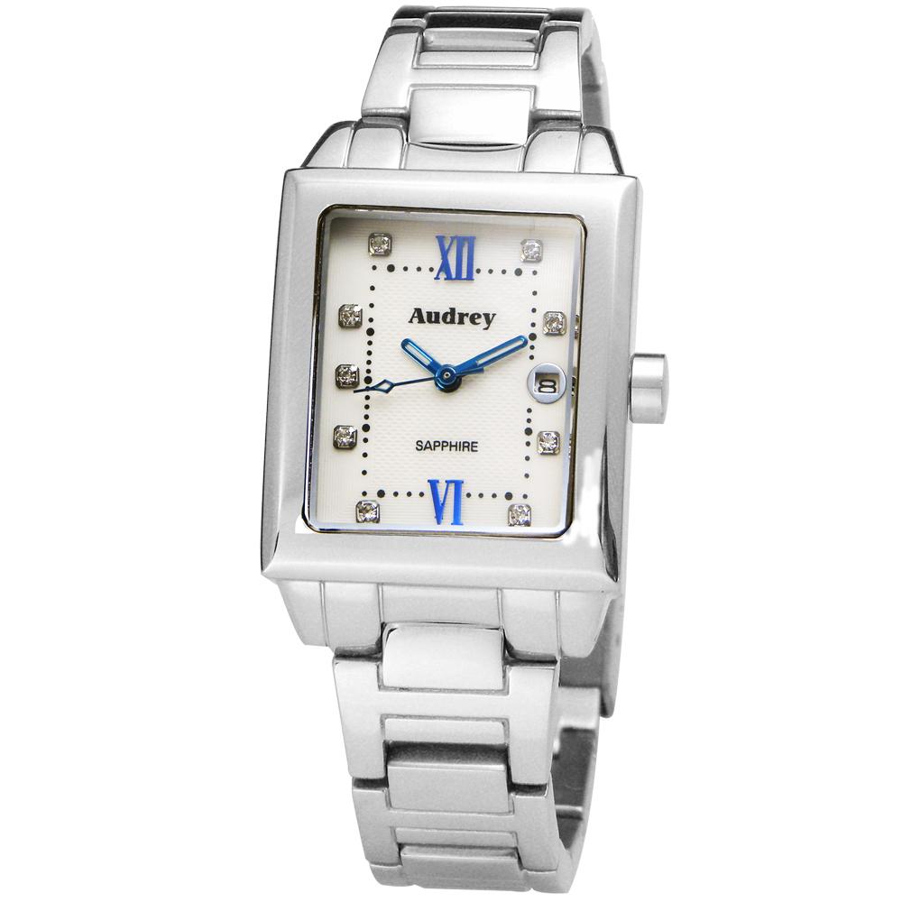 Audrey 歐德利 都會佳人 珍珠貝晶鑽女錶(AUB5658)-白x藍時標/25mm