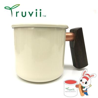 Truvii 月光白黑檀木柄琺瑯杯 400ml