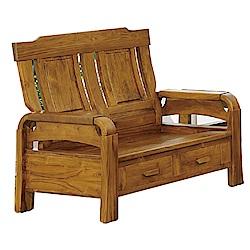 品家居 米魯柏木實木雙人收納椅-139x70x101cm-免組