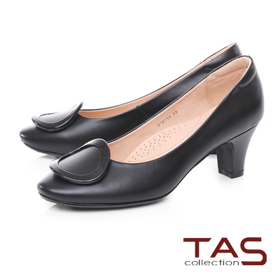 TAS質感圓飾羊皮高跟鞋-經典黑