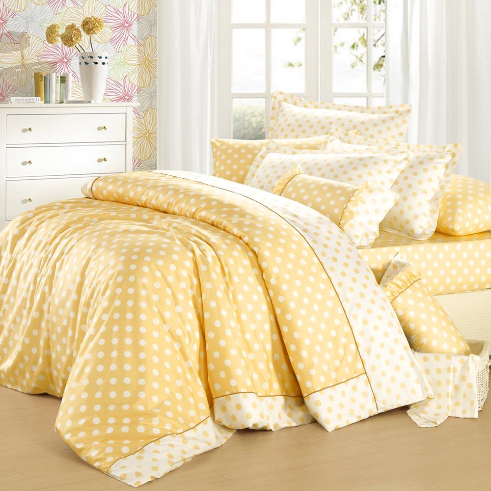 法國MONTAGUT - 甜蜜馬卡龍(黃) - 雙人四件式兩用被床包組