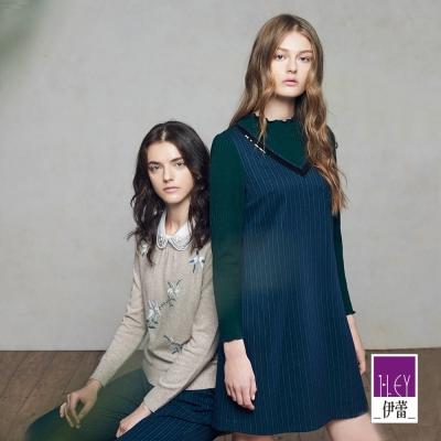 ILEY伊蕾-剪接條紋荷領洋裝-藍