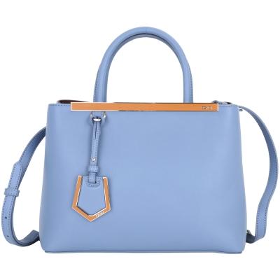 FENDI Petit 2Jours 撞色琺瑯飾條小牛皮兩用提包(蔚藍色/內酒紅色)