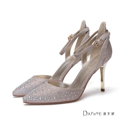 達芙妮DAPHNE 高跟鞋-水鑽金蔥交叉踝帶中空尖頭鞋-金