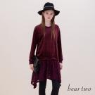 beartwo 不規則裙襬異材質拼接蕾絲洋裝(二色)
