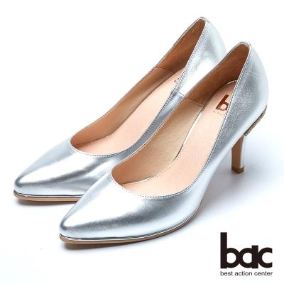 bac時尚品味 魅力迷人水鑽鞋跟高跟鞋-銀