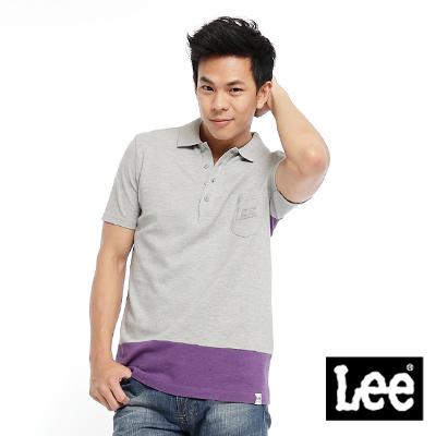 Lee-One-day-in-Brooklyn-色塊拼接短袖POLO-男款-灰-紫