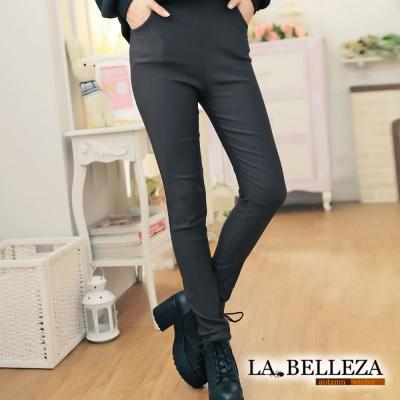 顯瘦側口袋腰鬆緊腰挺版修飾窄管褲 咖啡-La Belleza
