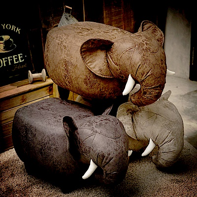IDEA-超萌大象實木短腿椅凳