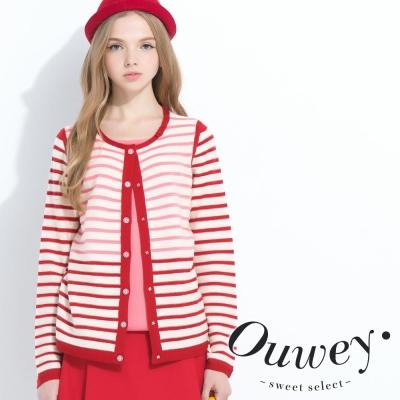 OUWEY歐薇-條紋配色假兩件毛衣-共2色