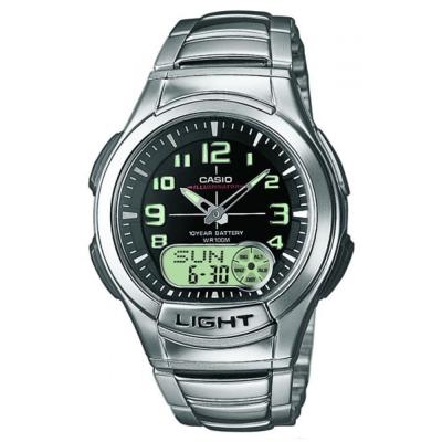 CASIO 超世代強光雙顯時區鋼帶錶(AQ-180WD-1B)-黑