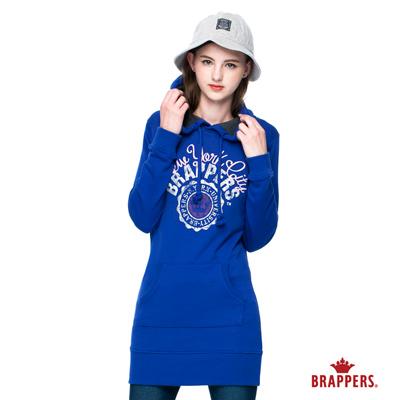 BRAPPERS-女款-女用長袖連帽長版帽T-寶藍